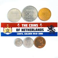 NETHERLANDS SET OF 6 DUTCH COINS: QUEEN BEATRIX (1982 - 2001), CENTS, GLUDEN