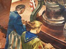 """1947 Goodyear CALENDAR + Everett Henry PRINT Liberty Bell + Boy Scout 19"""" x 23"""""""