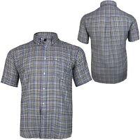 Mens Cotton Valley Big Size Blue Check Pattern Casual Short Sleeve Shirt 2XL 3XL