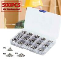 500PCS 304 Stainless Steel Hex Bolt Screw Nut M3 M4 M5 Kit