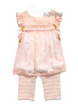 Rare Editions 1 - 2 yrs. old Peach | Gold Cherry Stripes Tassel Legging Set