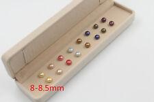 Set of 8 pairs of freshwater pearl stud earrings8-8.5 mm