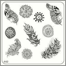 MoYou Nail Fashion Stamping Nail Art Image Plate 442 Ethnic Style Feathers