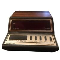 Vintage 80's Spartus Alarm Clock Digital Neptune Model 1104 Woodgrain Battery