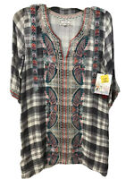NWT JOHNNY WAS Workshop Plaid Checkered 3/4 Sleeve Vneck Embroidered XS Tunic