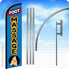 FOOT MASSAGE - Windless Swooper Feather Flag 15' KIT Banner Sign - bf