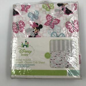 Vintage Disney Baby Minnie Mouse Crib Sheet Red Pink Girls Butterfly
