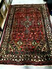 """ANTIQUE HAND WOVEN RED ORIENTAL RUG 4'2"""" X 6 1/2'"""