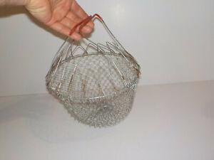 """Vintage 9"""" Wide Metal Mesh Collapsible Lettuce Wash-Drain, Egg Gathering Basket"""