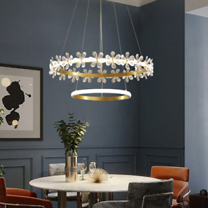 Dimmable Crystal Chandelier Flower Ceiling Light LED Ring Home Pendant Fixture