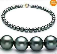 """18""""9-10MM TAHITIAN NATURAL BLACK PEARL NECKLACE PERFECT ROUND AAA"""