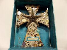 Rustic Folk Art Cross Assemblage Turquoise Brown Mosaic Box Shrine Star Proverbs