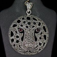Unusual Sterling Silver 925 Stunning Designer Swiss Marcasite Big Cat Pendant