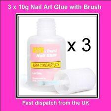 3 X 10 G Acrílico Nail Art Glue falsas falso Punta francés Gel Gem Rhinestone Diamante