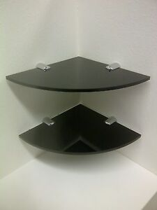 """CORNER SHELF ACRYLIC WITH CHROME FIXINGS 150MM or 6"""" WIDE PERSPEX PACK OF 2"""