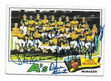 1977 TOPPS A'S TEAM CARD # 74 AUTOGRAPHED SIGNED BY 5 BLUE, BAHNSEN, SCOTT +2
