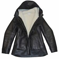 Medium HELMUT LANG Black & Cream Shearling Leather Hooded Jacket Coat $2695