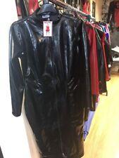 Misfitz black rubber latex sexy 2 way zip Pencil mistress dress, size 16