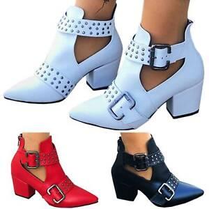 New Women Fashion Cut Out Medium heel short Boots Casual Rivet Buckle Shoes