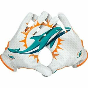 NFL Miami Dolphins Nike Vapor Knit Gloves GF0452 Mens Size XLarge