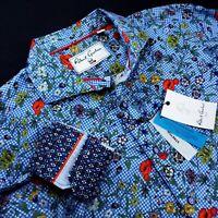 ROBERT GRAHAM Geometric Floral Skull Print TAILORED FIT Stretch Bold Sport Shirt
