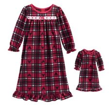 Girls 6 Small Minnie/Mickey Mouse Red Plaid Nightgown Matching Doll Pajamas Pjs