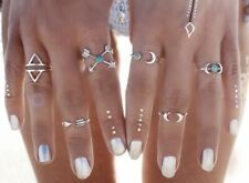 Earring Boho Festival Party Boutique Uk Silver Moon Blue Stackable Rings Fashion