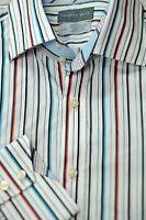 Thomas Dean Men's White Blue Coral Black Stripe Cotton Casual Shirt L Large
