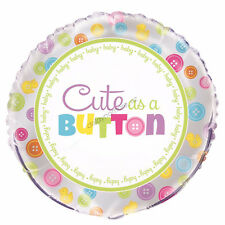 Baby Shower Party Decoration Cute As A Button Helium Air Foil Balloon MUM to BE