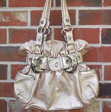 Kathy Van Zeeland Metallic Purse Satchel Hand Bag Golden Cream Vinyl Buckles