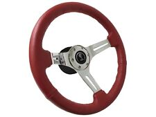 1964 - 1967 Ford Mustang Red Leather Steering Wheel Kit | Tiffany Snake Emblem