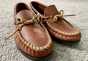 Men's Leather Minnetonka Moccasins - Size 12 - Medium Brown Tan