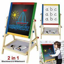 Kids Children 2 In 1 Black White Board Adjustable Wooden Easel Drawing Board UK