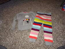 BABY GAP 3 3 T SWEATER AND STRIPED PANTS SET POLAR BEAR