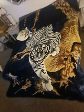 """VINTAGE SAN MARCOS """"STYLE"""" BLANKET WHITE CROUCHING TIGER 86"""" X 95"""" HEAVY"""