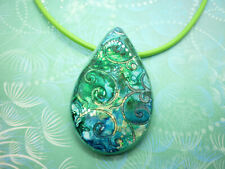 Mermaid Swirls Necklace on leather cord 45cm handmade