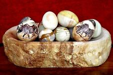 Decorative Onyx Eggs Group + Two Carved & Hand Painted Eggs on Onyx Tray