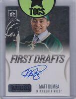 Matt Dumba 2013-14 Panini Playbook First Drafts Auto On Card Minnesota Wild