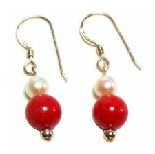 Genuine White Pearl & Red Coral Dangle Hook Earrings 14K Gold Filled