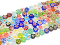 Millefiori Glasperlen 6mm Scheibe Mixfarbe mit Blume 1 strang Schmuck BEST D83G