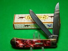 "4-1/8"" US Classic Red Acrylic Hdls SS Blds Trapper Pocket Knife EM2567040038"