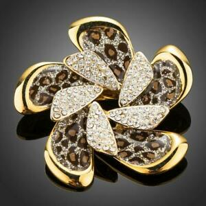 Easter Gifts For Adults LEOPARD SHINY FLOWER BROOCH KHAISTA