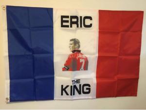 """ERIC CANTONA FOOTBALL FLAG """"ERIC THE KING"""" 90cm x 60cm FRANCE MAN UNITED"""