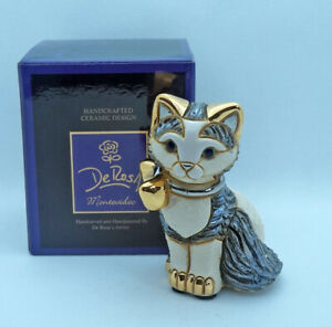 New De Rosa Rinconada Figurine Striped Kitten Cat w Ribbon Gold Enamel DeRosa