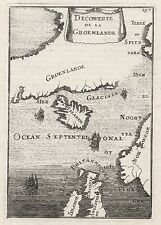 1683 Greenland Iceland Arctic Lands 17th Century Copper Plate Map Mallet