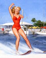 GIL ELVGREN 8x10 PINUP GIRL MATTE PRINT-1950s Legs Up Lingerie Ready for It
