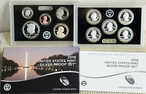 2019 S US Mint ANNUAL SILVER 10 Coin Proof Set with Box and COA NO W Penny