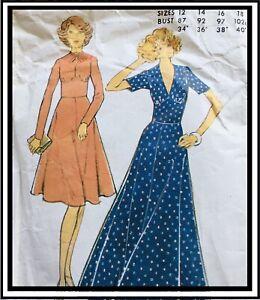"""Vintage 70's WIDE MIDRIFF MAXI DRESS / TEA DRESS Sewing Pattern BUST 34"""" (M5953)"""