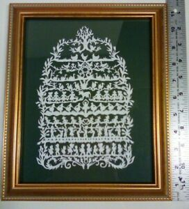 "The 12 Days of Christmas Scherenschnitte Framed under glass 9.5"" x 11.5"""
