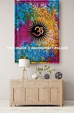 Indian Tie Dye Om Wall Hanging Cotton Hippie Tapestry Throw Ethnic Wall Decor